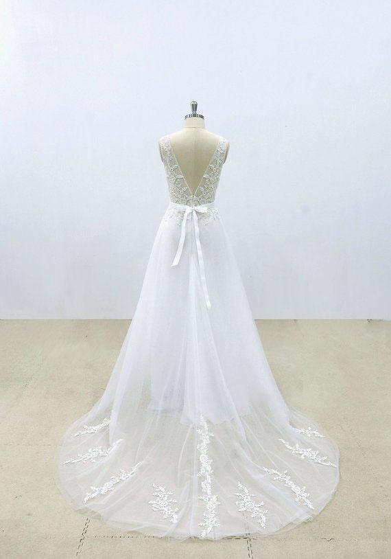 Popular A-line V-neck lace top tulle backless simple Wedding Dresses with train, WD0365