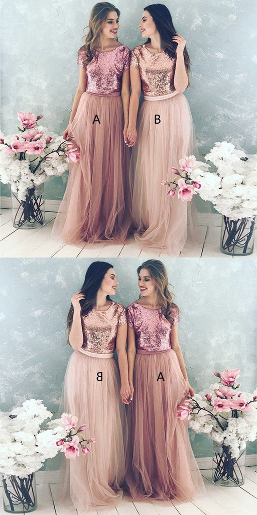 Rose gold Sequins Top short sleeves Bridesmaid Dresses, Tulle Cheap Bridesmaid Dresses, BD0491