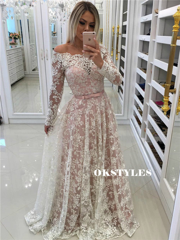 A-line Off-shoulder Long Sleeves Full Lace Long Prom Dresses, PD0607