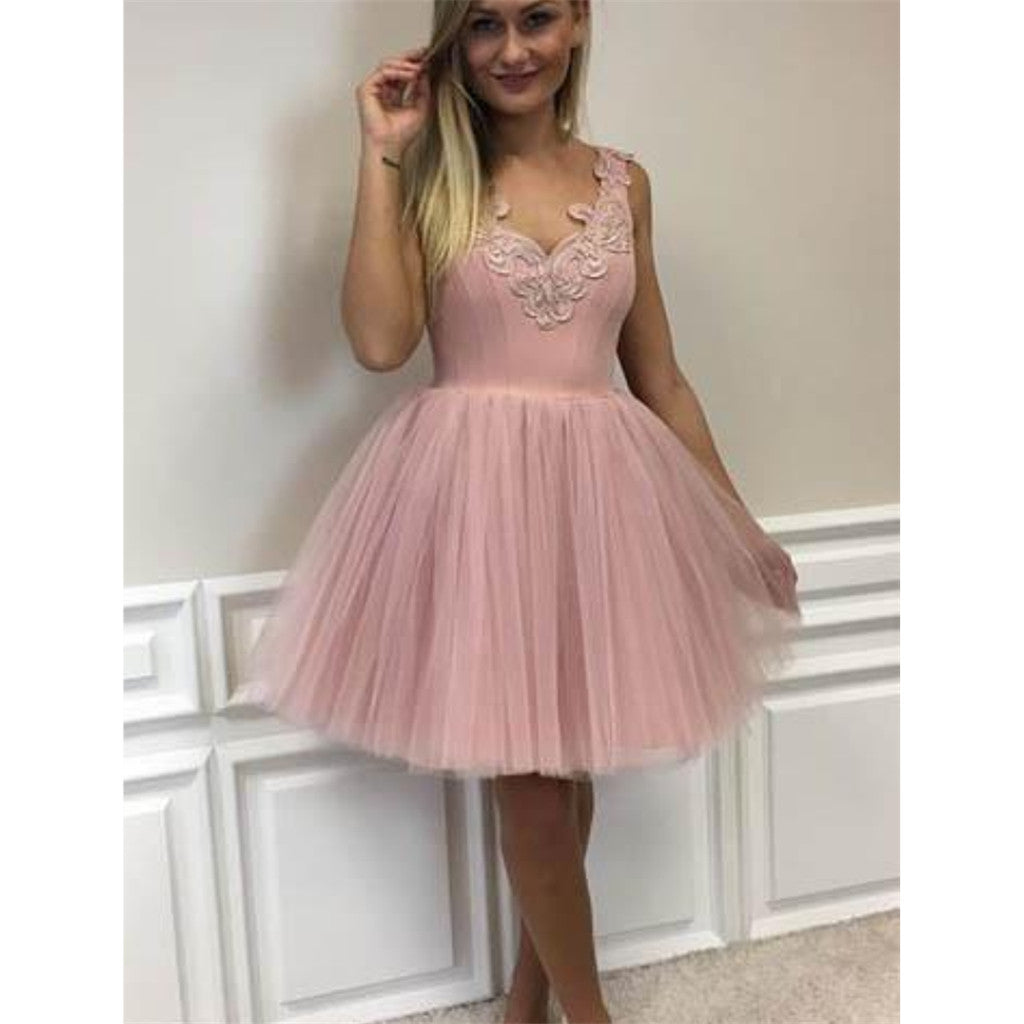 New Arrival Cute Cheap V Neck Appliques Prom Party Gowns, Homecoming dresses, HD0390