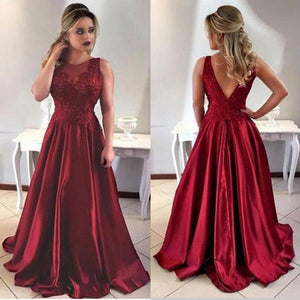 2018 Burgundy Prom Dress, Long Evening Gown,Graduation Party Dresses,Prom Dresses For Teens,A Line V-neck Backless Prom Dress, PD0427