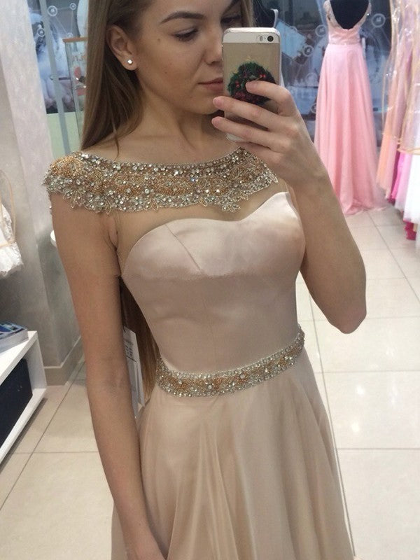 A-line Scoop Neck Cap-sleeves Long Beading Prom Dresses, PD0601
