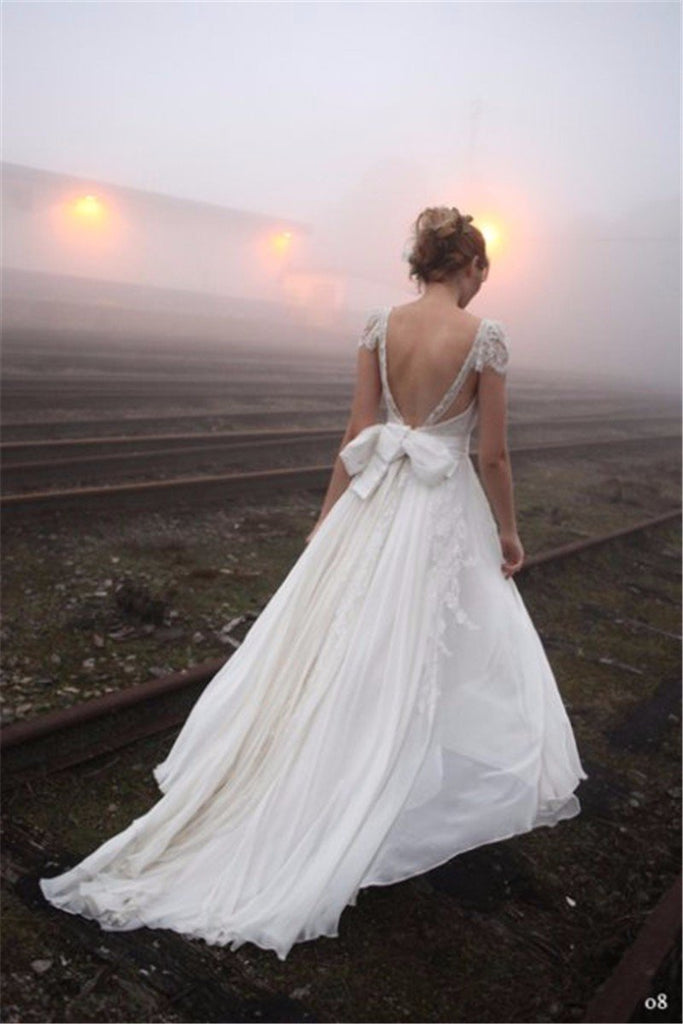 Elegant Sevy V-neck Backless Cap sleeves Chiffon Wedding Dresses With Train, WD0371