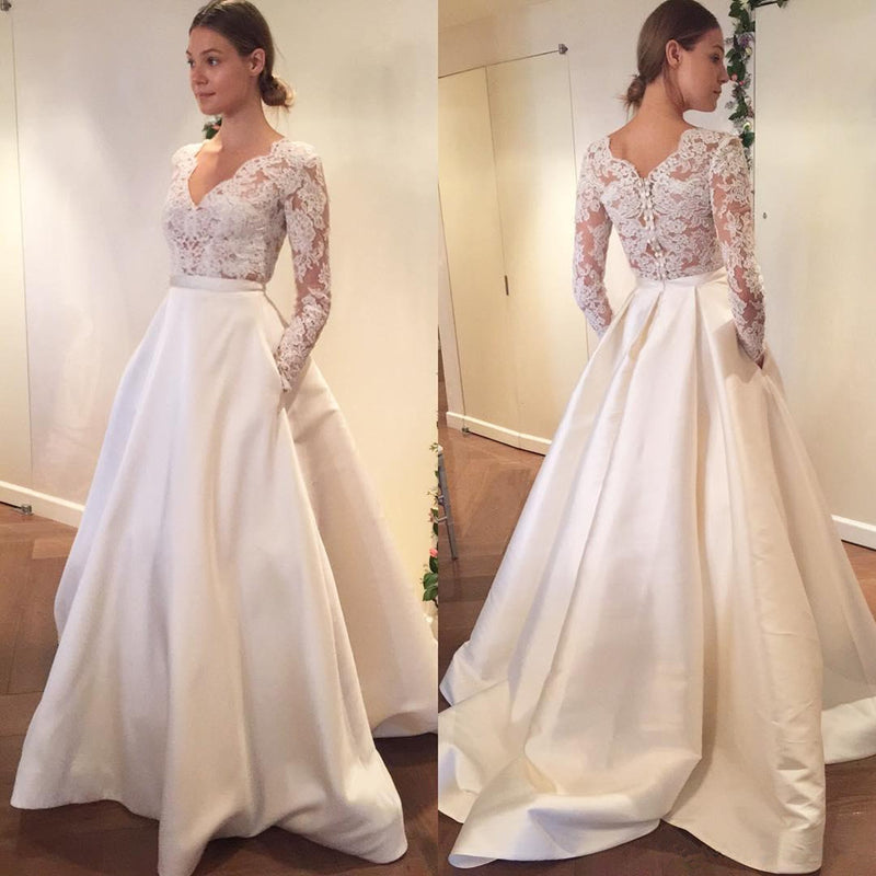 Popular Floor-length A-line V-neck Top Lace Long Sleeves Elegant Wedding dresses , WD0409