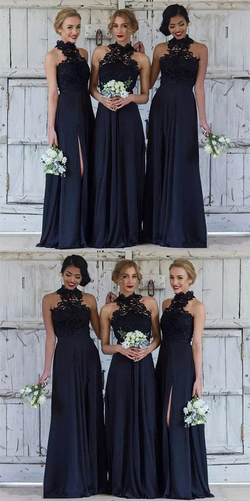 Floor Length Navy Blue Halter Neck Lace Appliques Top Chiffon Side Split Bridesmaid dresses, BD0483