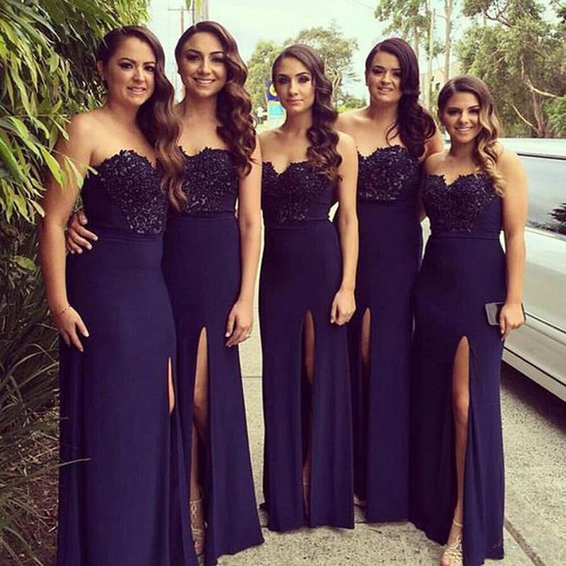 Sweetheart Floor-length High Split Appliques Bridesmaid Dresses, BD0558
