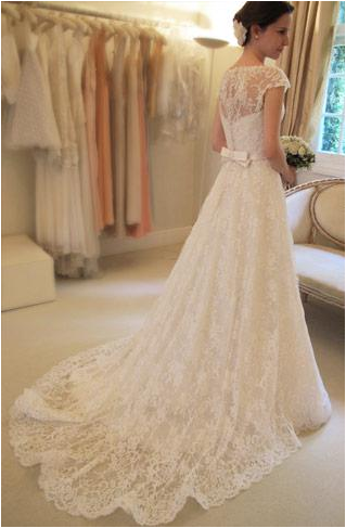 New Arrival Gorgeous Bateau Neck Cap Sleeve Lace Wedding Dresses with train, WD0346