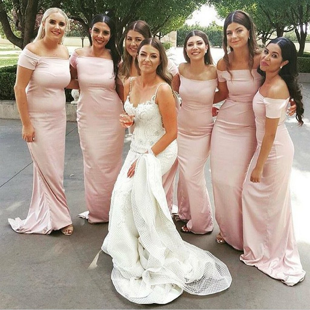 Mermaid Cheap Off-the-Shoulder Short Sleeves Simple Style Pink Bridesmaid Dress, BD0486