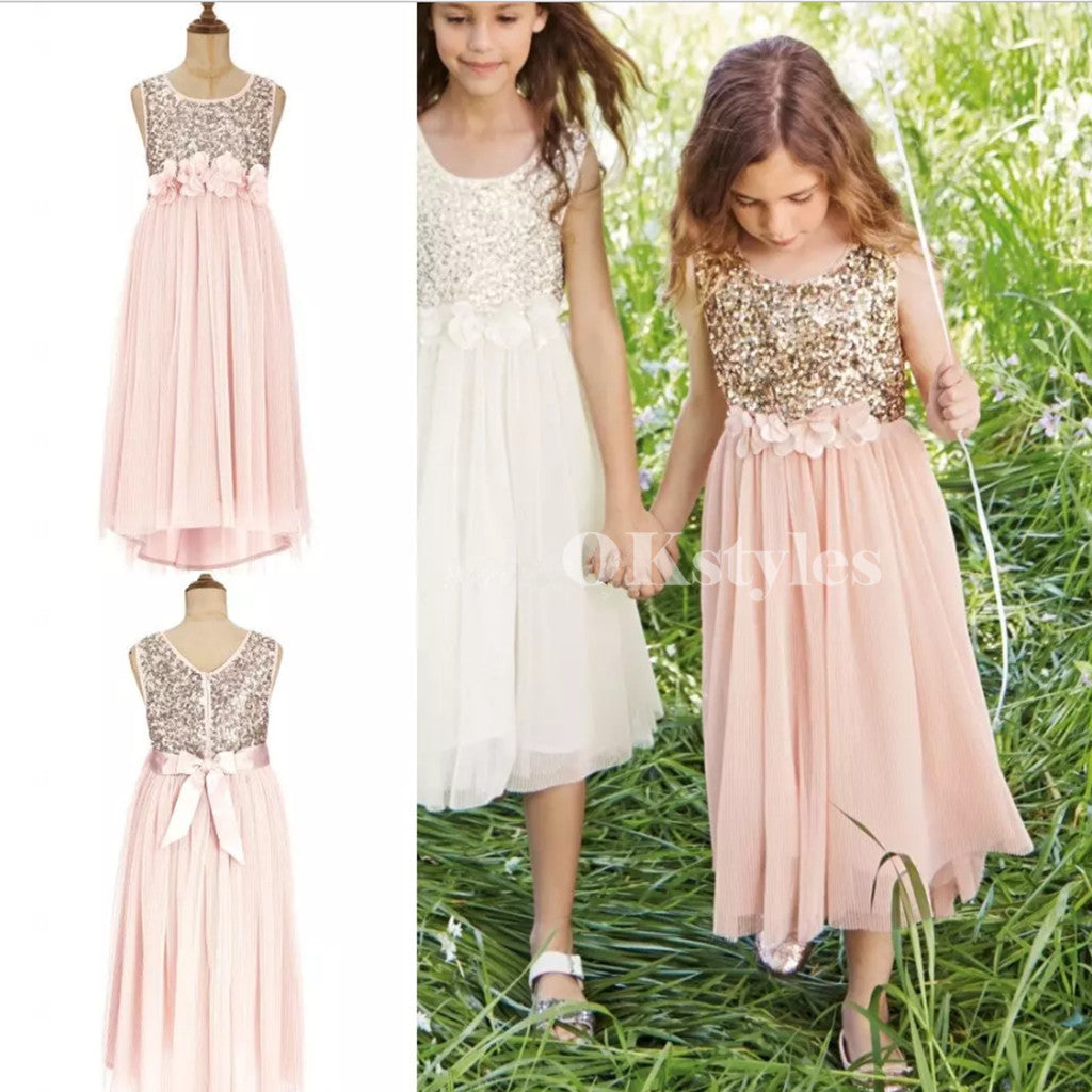 024e53132c7 A Line Round Neck Gold Sequins Top Tea-Length Tulle Flower Girls Dresses
