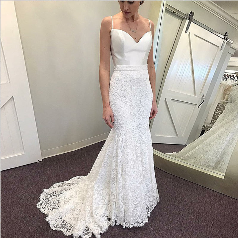 Popular Mermaid Spaghetti Straps Sleeveless Lace Skirt wedding dresses with train, WD0381