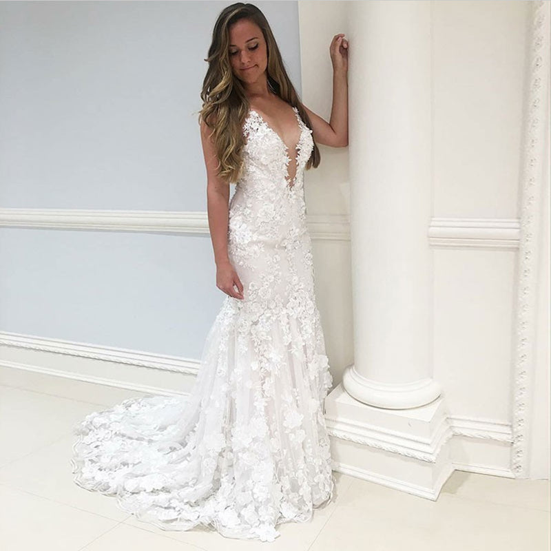 New Arrival Mermaid Deep V-neck Full Appliques Wedding Dresses with train, WD0382