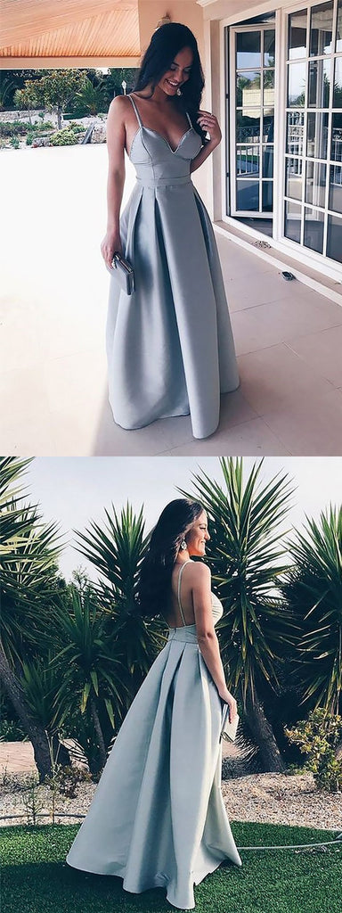 Best Selling Floor-length Spaghetti Straps Backless V-neck Long Prom Dresses, PD0120
