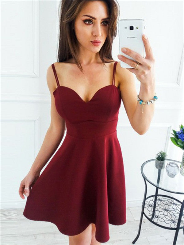 Simple A-line Spaghetti Straps Burgundy Cheap Homecoming Dresses, HD0507