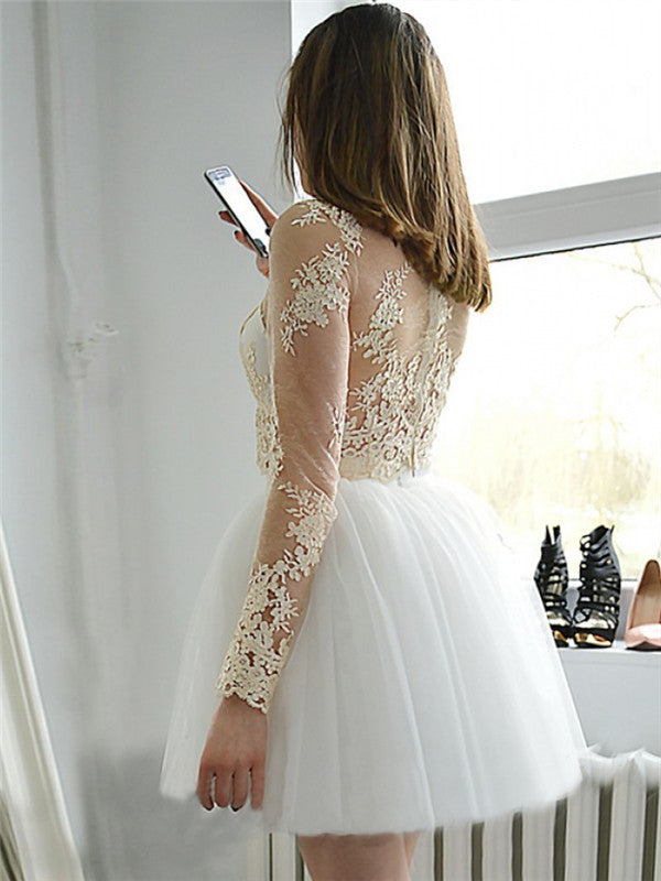Two-pieces Long Sleeves See-though Appliques Homecoming Dresses, HD0508