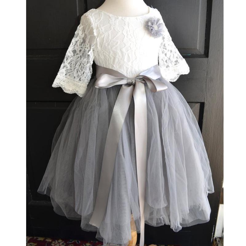 Round Neck Lace Top Grey Tulle Skirt Flower Girl Dresses, Lovely Cheap Little Girl Dresses, FG067