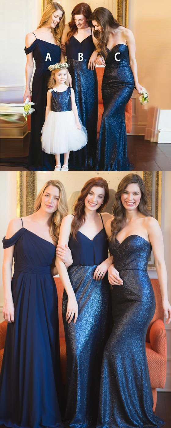 Chiffon Spaghetti Straps V-neck Sequins Cheap Sweetheart Bridesmaid Dresses, BD0493