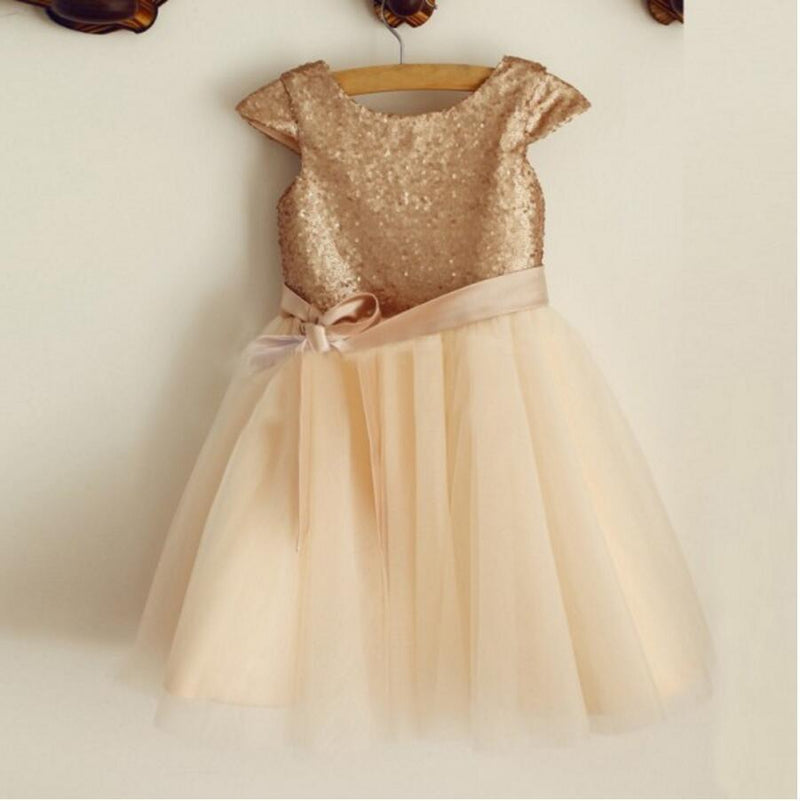 Cap Sleeve Round Neck Tulle Flower Girl Dresses, Popular Little Girl Dresses, FGS025