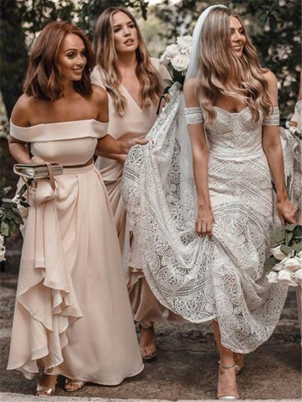 A-line Off-shoulder Long Chiffon Cheap Backless Bridesmaid Dresses, BD0599