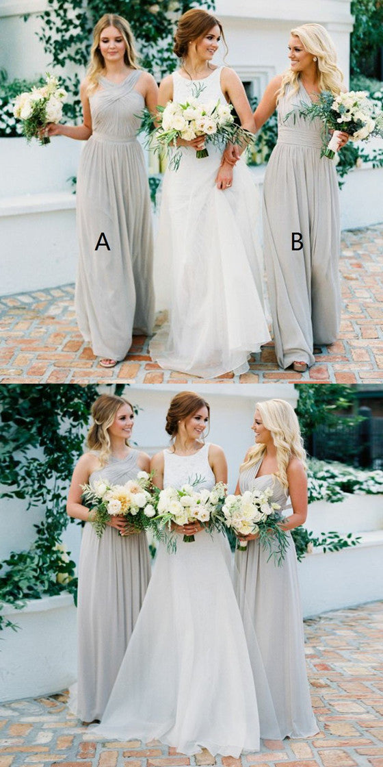 A-Line Floor-length V-Neck Light Grey Chiffon Long Bridesmaid Dresses, BD0463