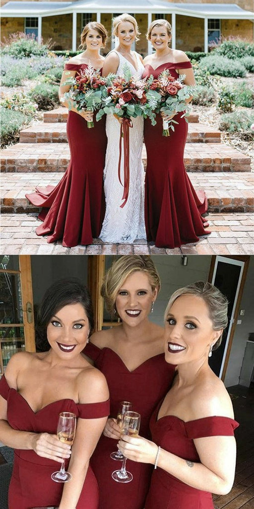 Mermaid Off Shoulder Burgundy Simple Cheap Bridesmaid Dresses With Train, BD0102