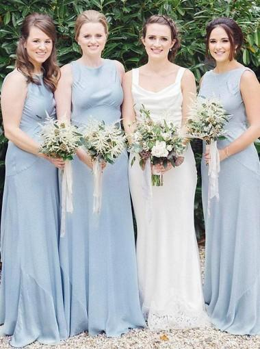 A-Line Round Neck Sleeveless Light Blue Satin Simple Cheap Bridesmaid Dress, BD0507