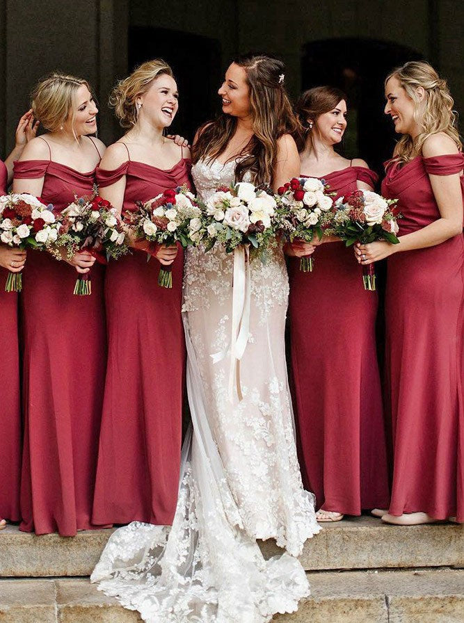 Burgundy Cheap Long Spaghetti Straps Mermaid Bridesmaid dresses , BD0526