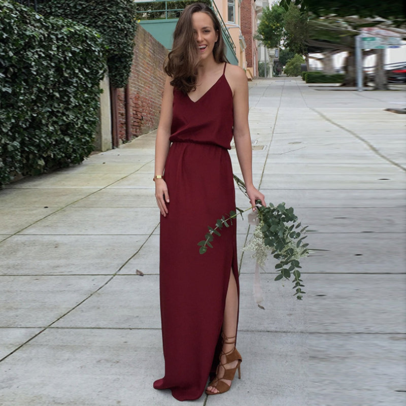 A Line V Neck Spaghetti Straps Burgundy Long Bridesmaid Dresses, BD0537
