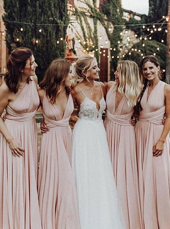 A-Line Floor-length V-neck Backless Pink Bridesmaid Dresses, BD0544