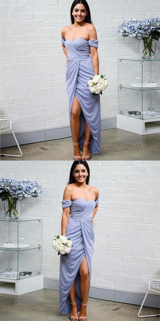 Sweetheart off the Shoulder Lavender Bridesmaid Dresses With Pleats, BD0104