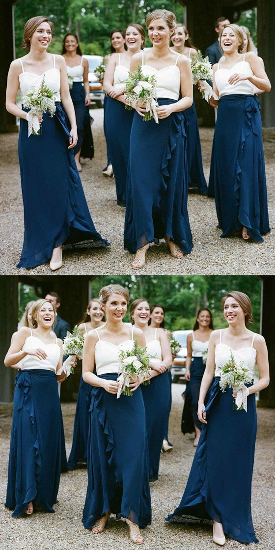 A-Line Spaghetti Straps Dark Blue Chiffon Bridesmaid Dresses With Ruffles, BD0101