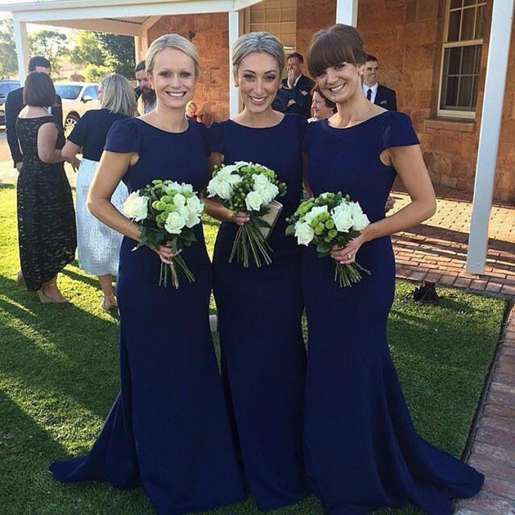 Mermaid Round Neck Cap Sleeves Simple Bridesmaid Dresses With Train, BD0108