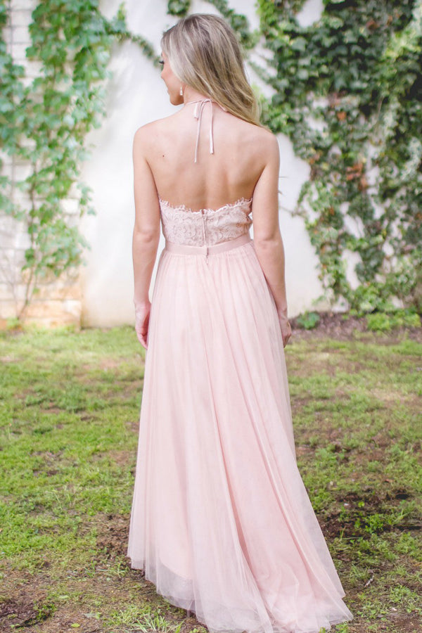A-Line Halter Floor-Length Lace Pink Tulle Bridesmaid Dresses, BD0571