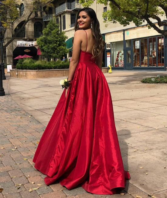A-line V-neck Simple Red Evening Dresses, Long Prom Dresses, PD0160