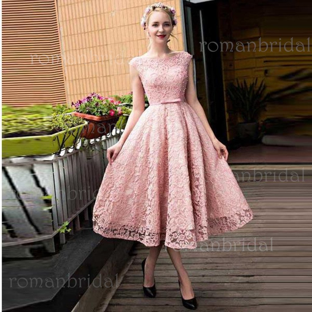 Newest Lace-up Bowknot Tea-length Short Prom Dress Party Dress Homecoming Dresses, HD0313