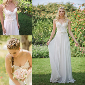 Romantic Spaghetti Strap Lace Top chiffon Country Beach Style Wedding Dresses, WD0361