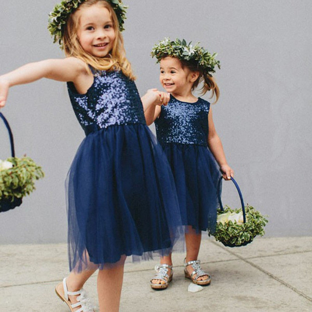 Popular A-Line Round Neck Navy Blue Flower Girl Dress with Sequins, FG0124