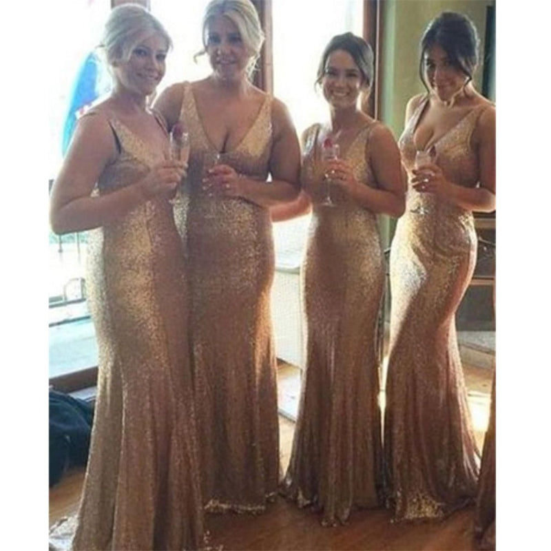 Stunning sequin rose gold bridesmaid dress,long bridesmaid dress,v-neck bridesmaid dress, BD0443