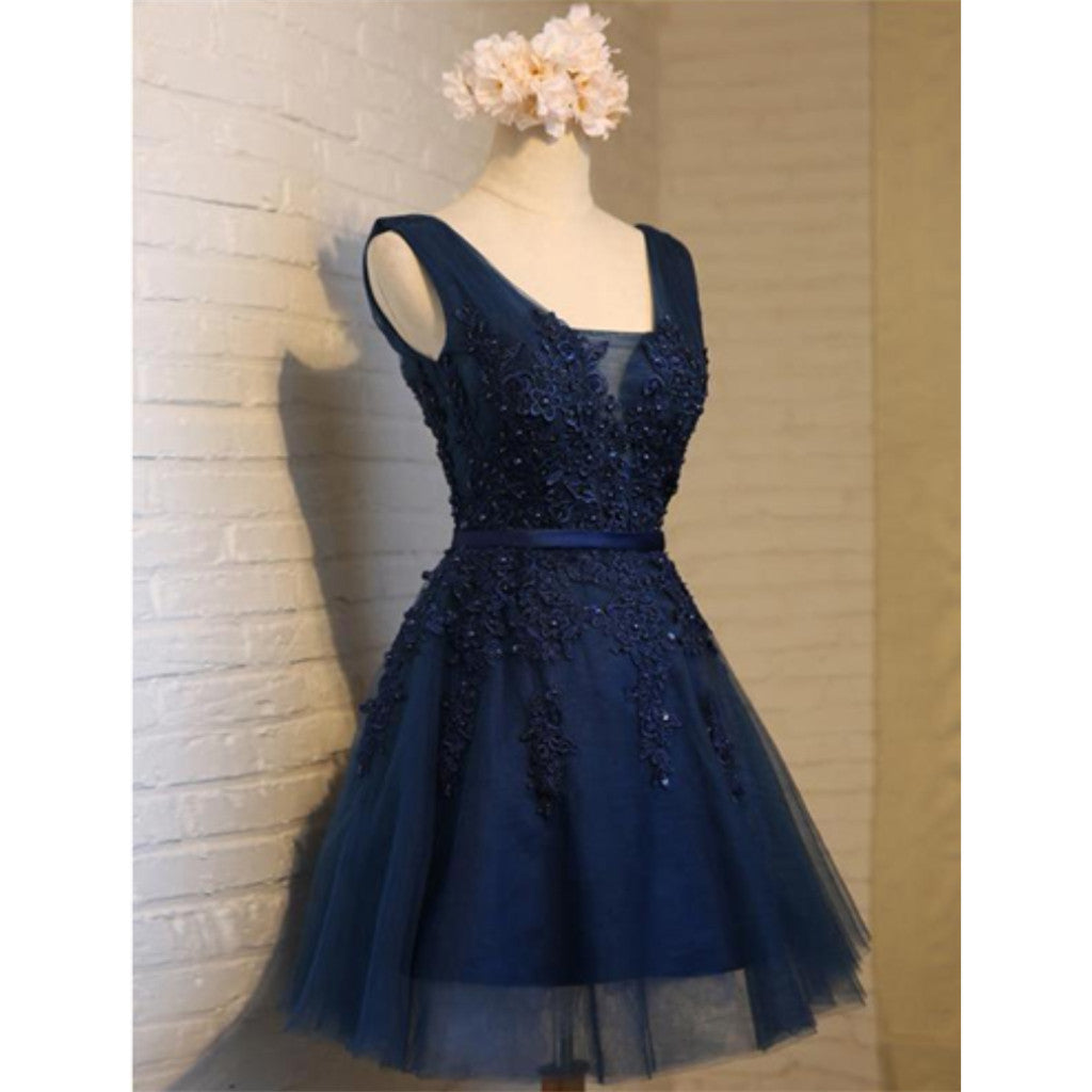 V Neck Navy Lace Beaded Short Homecoming Dresses Online, CM678