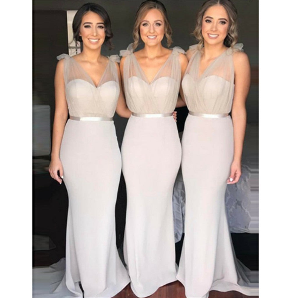 Mermaid V-Neck Sweep Train Light Grey lovely sweet elegant Bridesmaid Dress  ,  BD0106