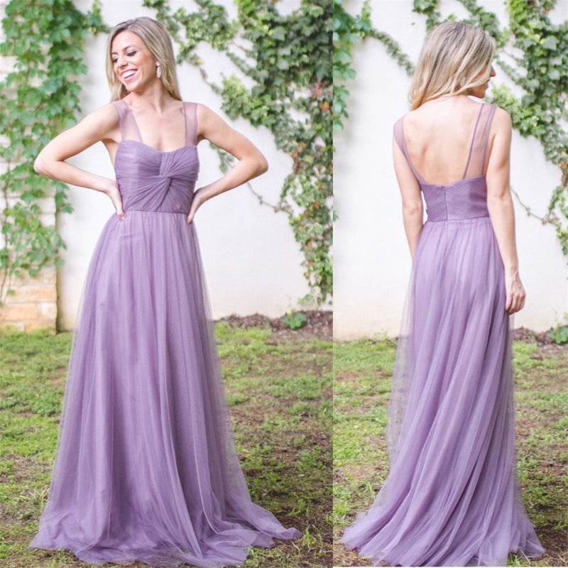 New Arrival tulle Spaghetti Straps Floor-length elegant long ...