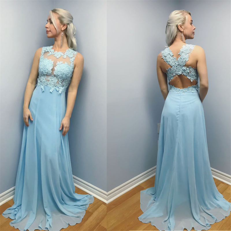 A-line Chiffon Lace Top Backless Long Prom Dress, PD009