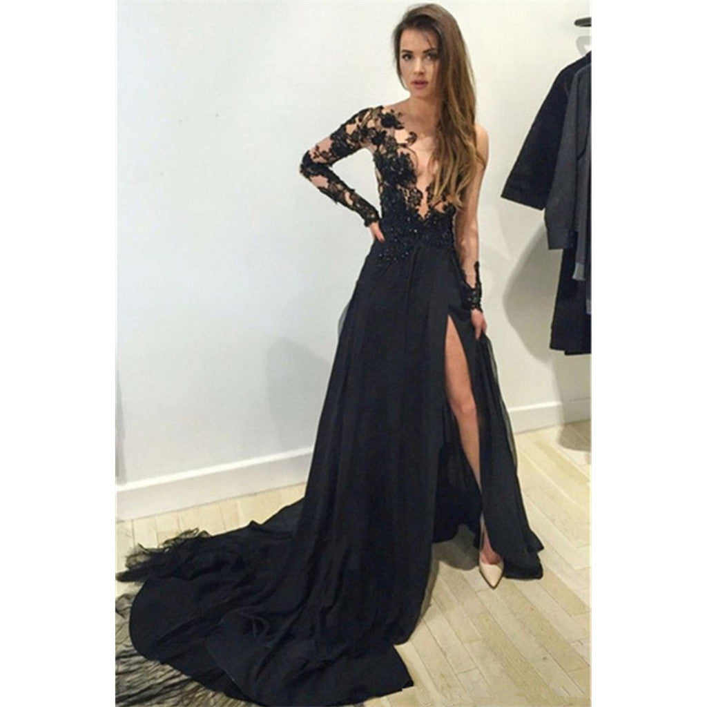 Hot Selling A-Line Long Sleeves High Slit Lace Top V-neck Long Prom Dresses, PD0119