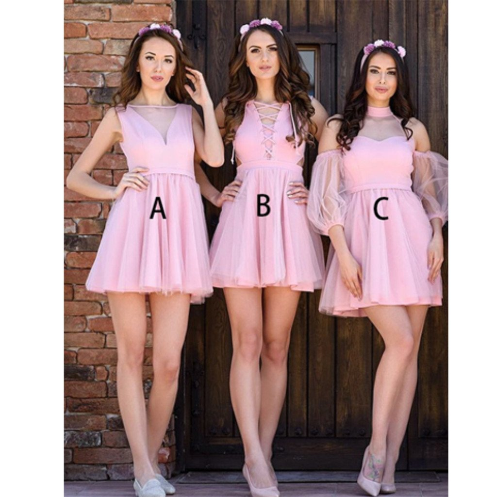 New Arrival A-line Pink tulle Sleeveless short Sexy Bridesmaid Dress, BD0506
