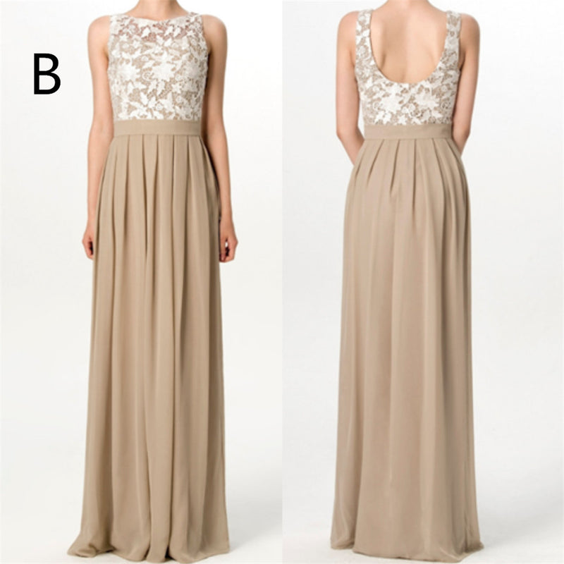 Elegant Floor-length Lace Top Sleeveless Simple Cheap Chiffon Bridesmaid dresses, BD0514