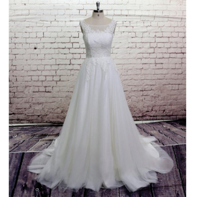 Popular Sexy V-back sleeveless Applique Tulle Wedding Dresses With Train, WD0348