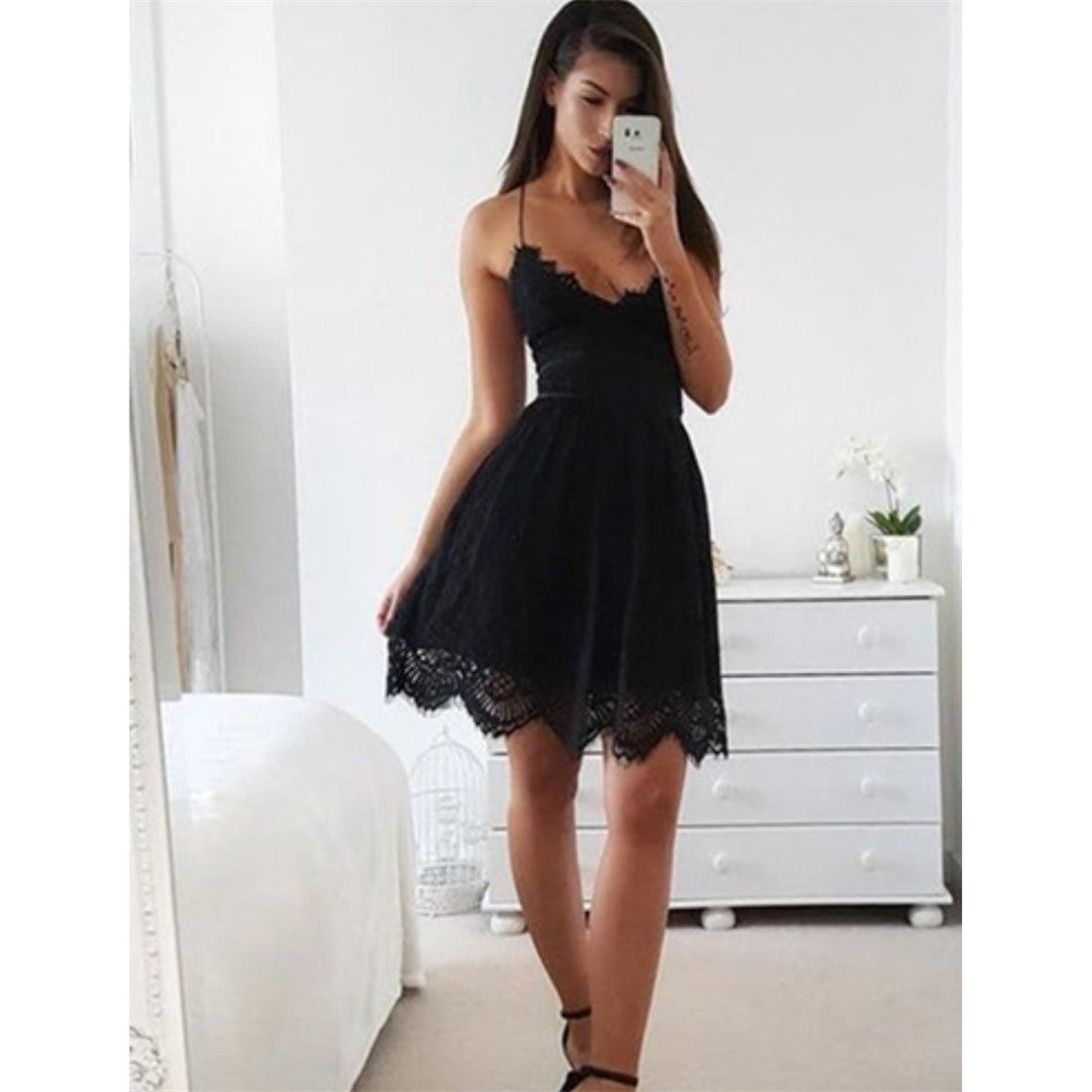 Sexy Spaghetti Straps Lace Up back Black Lace Simple Homecoming Dresses, HD0489
