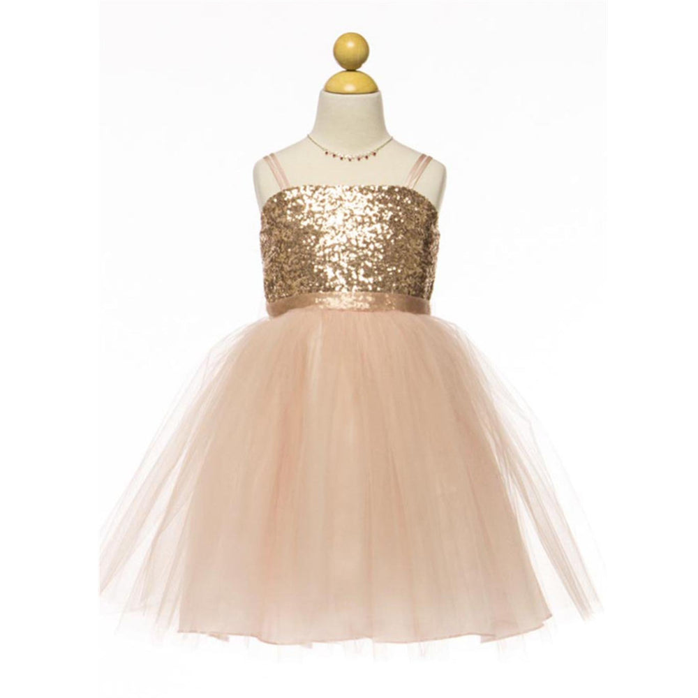 4237e1343 New Arrival Spaghetti Straps Sequins Top Tulle Skirt Flower Girl Dresses,  FG0125