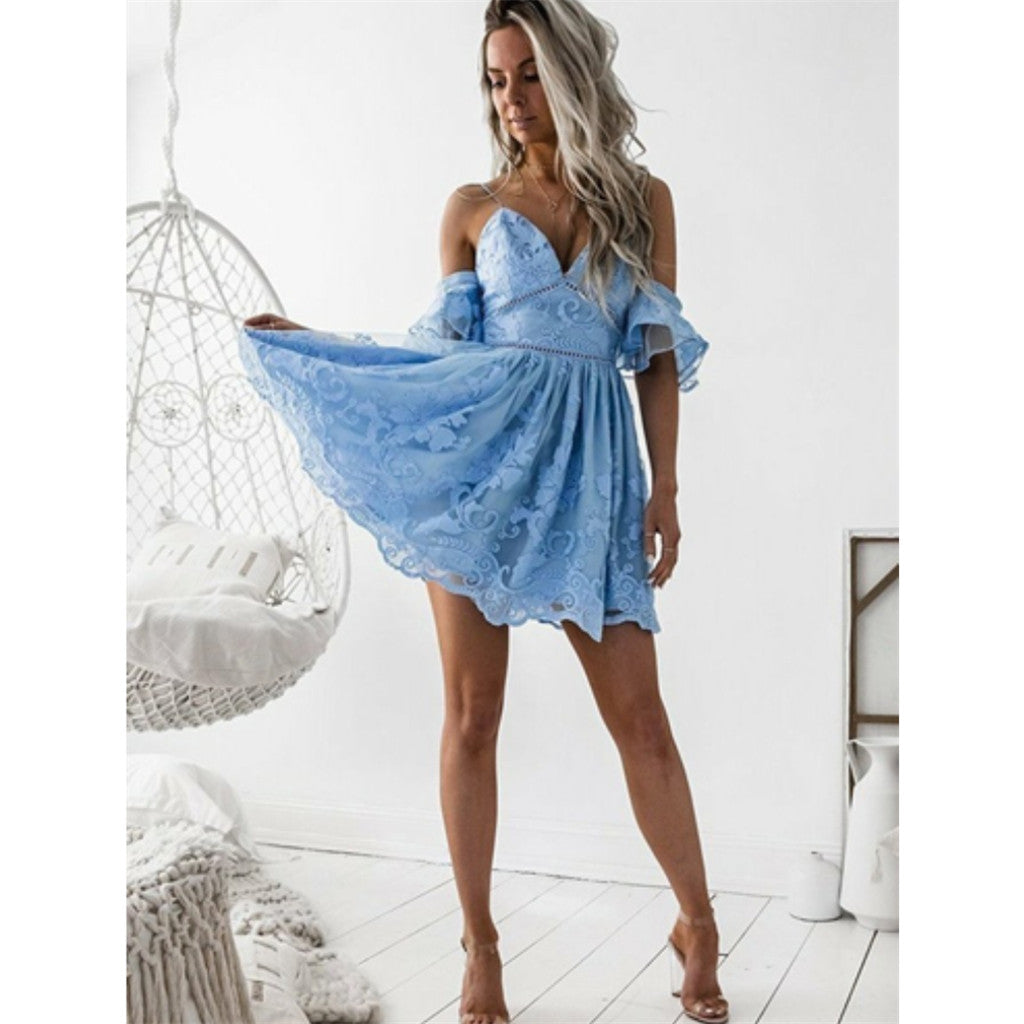 A-Line Spaghetti Straps Short Sky Blue Full Lace Short Homecoming Dress, HD0399
