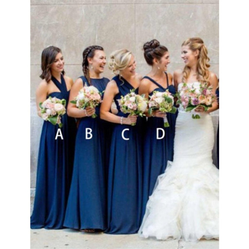 A-Line Floor-length Halter Pleated sleeveless Dark Blue Chiffon Long Bridesmaid Dress , BD0501