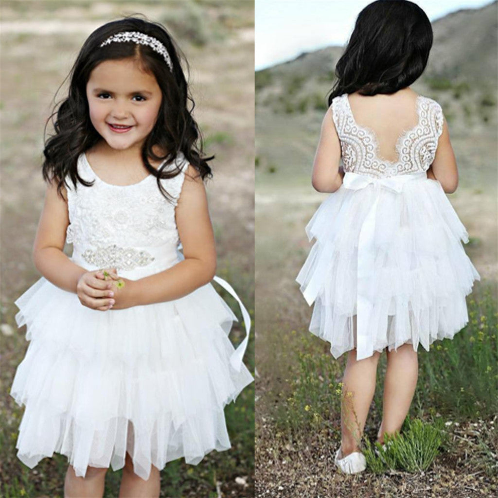 White lace dress,White tutu dress, flower girl lace dresses, lovely flower girl dress, FG0201